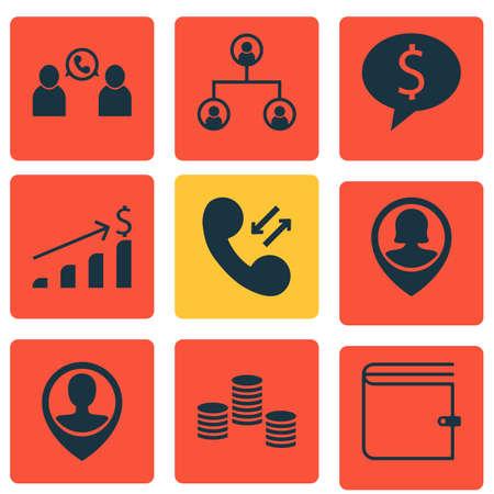 Ensemble de 9 icônes de gestion. Comprend une affaire, une conférence téléphonique, des données cellulaires et d?autres symboles. Beaux éléments de conception.