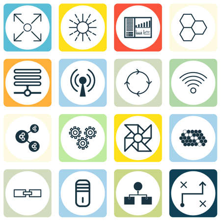 associative: Set Of 16 Machine Learning Icons. Includes Hive Pattern, Mainframe, Wireless Communications And Other Symbols. Beautiful Design Elements. Illustration
