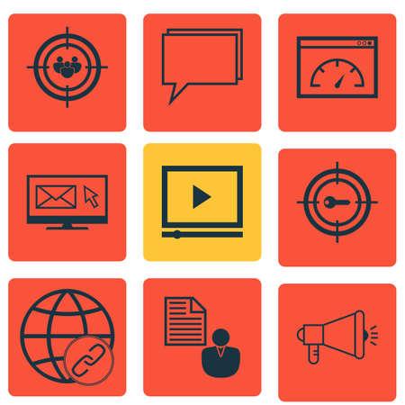 Ensemble de 9 icônes de marketing. Comprend groupe de discussion, connectivité, vitesse de chargement et autres symboles. Beaux éléments de conception.