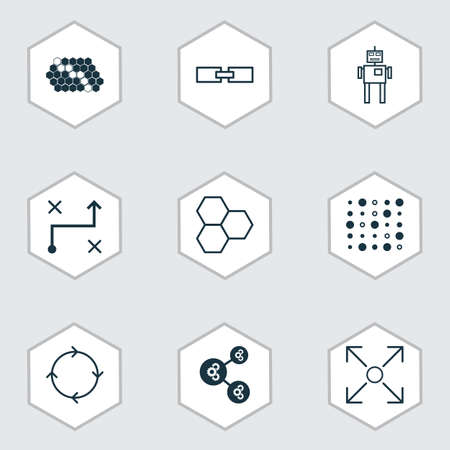 Set Of 9 Robotics Icons. Includes Algorithm Illustration, Hive Pattern, Solution And Other Symbols. Beautiful Design Elements.