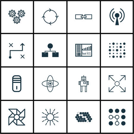 Set Of 16 Artificial Intelligence Icons. Includes Mainframe, Lightness Mode, Hive Pattern And Other Symbols. Beautiful Design Elements.