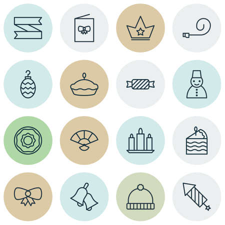 flan: Set Of 16 Celebration Icons. Includes Ringer, Flan, Wax And Other Symbols. Beautiful Design Elements.