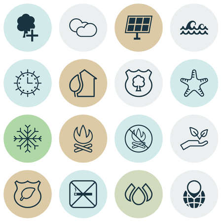 eco notice: Set Of 16 Eco Icons. Includes Sun Clock, Ocean Wave, Cigarette And Other Symbols. Beautiful Design Elements. Illustration