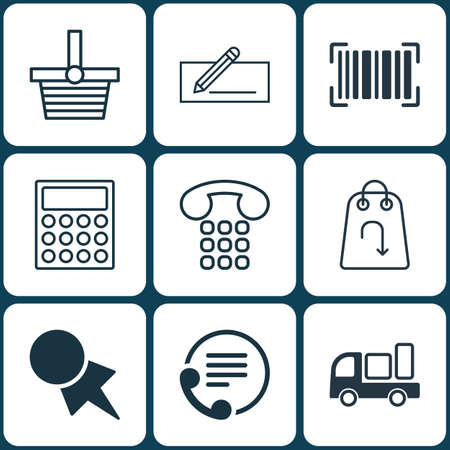 pager: Set Of 9 E-Commerce Icons. Includes Money Transfer, Telephone, Discount Coupon And Other Symbols. Beautiful Design Elements.