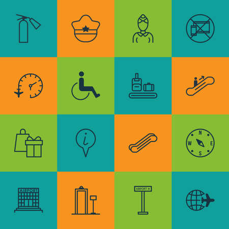 emergency cart: Set Of 16 Travel Icons. Includes Locate, Airplane Information, Stair Lift And Other Symbols. Beautiful Design Elements. Illustration