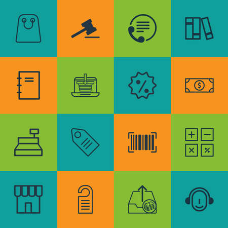pager: Set Of 16 E-Commerce Icons. Includes Outgoing Earnings, Spiral Notebook, Employee And Other Symbols. Beautiful Design Elements.