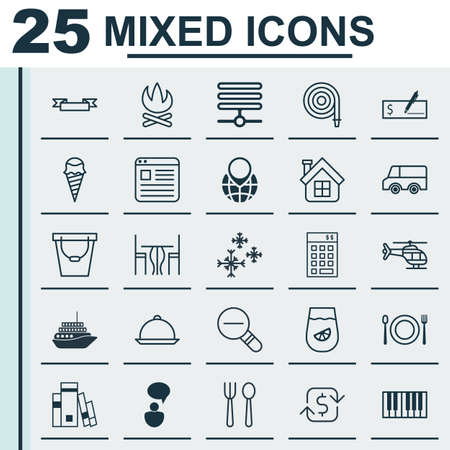 Set Of 25 Universal Editable Icons. Can Be Used For Web, Mobile And App Design. Includes Elements Such As Eating, Flight Vehicle, Recurring Payements And More.