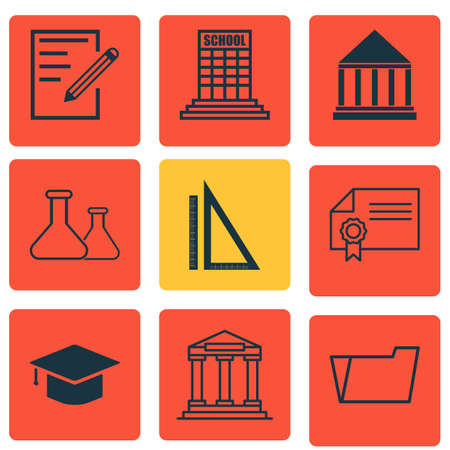writing pad: Set Of 9 Education Icons. Includes Graduation, Academy, Paper And Other Symbols. Beautiful Design Elements.