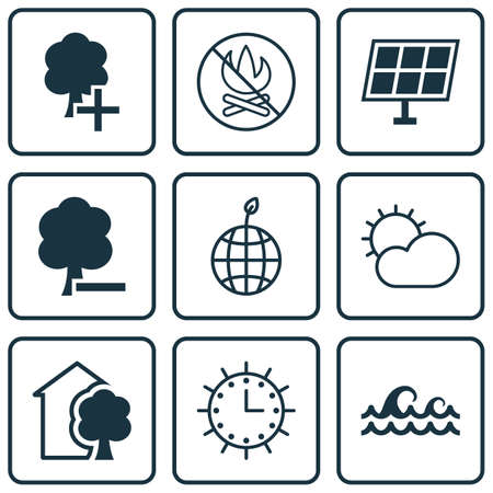 greenness: Set Of 9 Eco-Friendly Icons. Includes World Ecology, Insert Woods, Sun Clock And Other Symbols. Beautiful Design Elements.