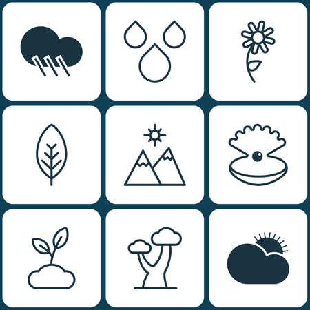 Set Of 9 Nature Icons. Includes Oak, Seashell, Landscape Symbols. Beautiful Design Elements. Illustration