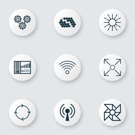 robotic transmission: Set Of 9 Machine Learning Icons. Includes Hive Pattern, Recurring Program, Wireless Communications And Other Symbols. Beautiful Design Elements.
