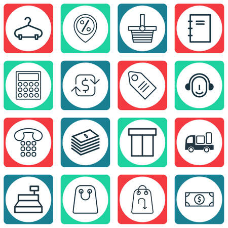 Set Of 16 Ecommerce Icons. Includes Discount Location, Callcentre, Pannier And Other Symbols. Beautiful Design Elements. Illustration