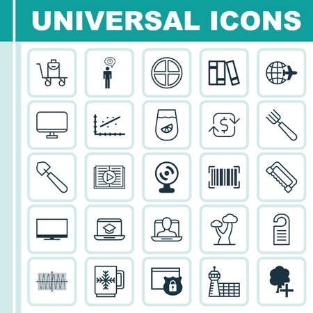 Set Of 25 Universal Editable Icons. Can Be Used For Web, Mobile And App Design. Includes Elements Such As Scoop, Social Profile, Price And More. Ilustrace