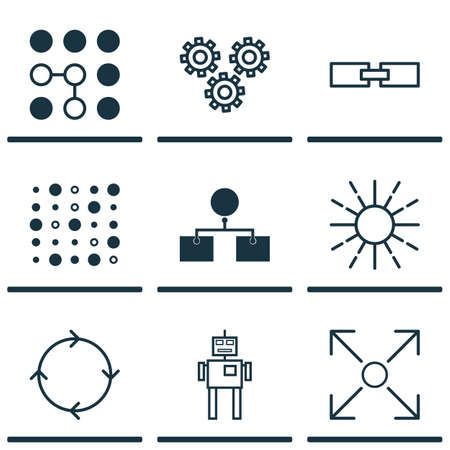Set Of 9 Machine Learning Icons. Includes Branching Program, Related Information, Lightness Mode And Other Symbols. Beautiful Design Elements.