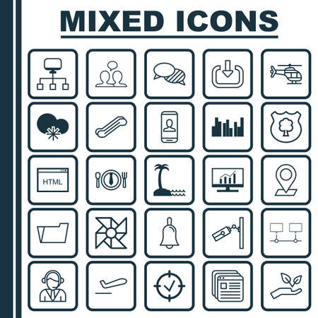 Set Of 25 Universal Editable Icons. Can Be Used For Web, Mobile And App Design. Includes Elements Such As Market Research, Handbell, Pinpoint.