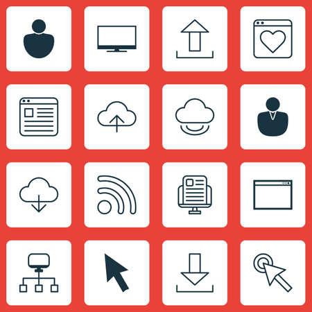 hdtv: Set Of 16 Internet Icons. Includes Blog Page, Send Data, Human And Other Symbols. Beautiful Design Elements. Illustration