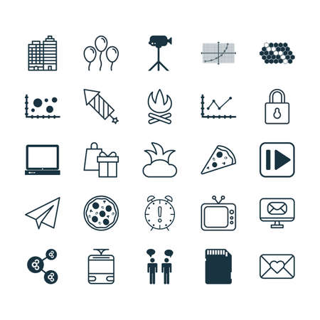 squib: Set Of 25 Universal Editable Icons. Can Be Used For Web, Mobile And App Design. Includes Elements Such As Algorithm Illustration, Hotel, PC And More.