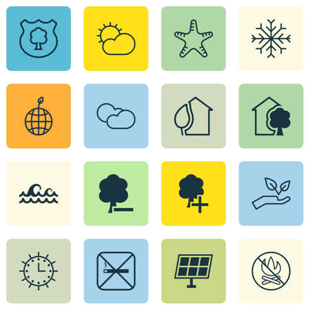 greenness: Set Of 16 Eco Icons. Includes Home, Sun Power, Insert Woods And Other Symbols. Beautiful Design Elements.
