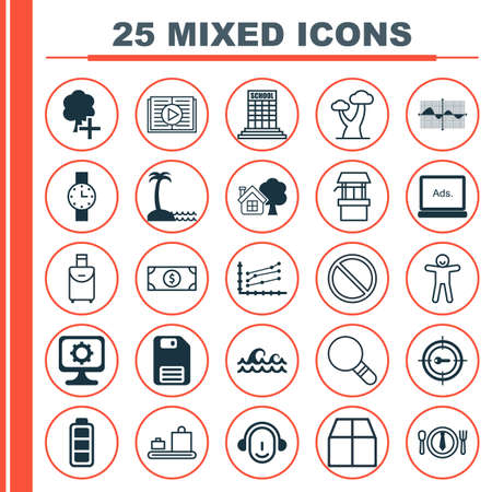 farmstead: Set Of 25 Universal Editable Icons. Can Be Used For Web, Mobile And App Design. Includes Elements Such As Filled Wave Chart, Water Source, Academy And More. Illustration