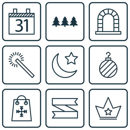 bengal fire: Set Of 9 New Year Icons. Includes Arch, Date, Christmas Ball And Other Symbols. Beautiful Design Elements.