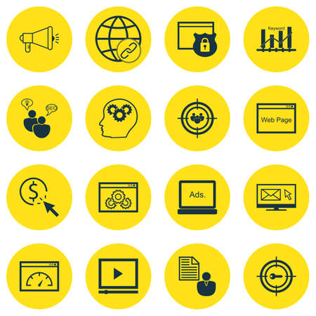 Set Of 16 Advertising Icons. Includes Loading Speed, Intellectual Process, Web Page Performance And Other Symbols. Beautiful Design Elements.