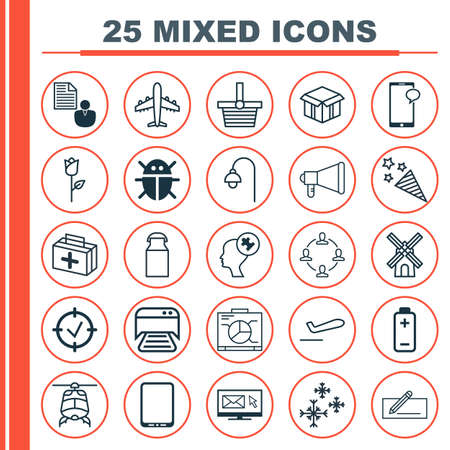 Set Of 25 Universal Editable Icons. Can Be Used For Web, Mobile And App Design. Includes Elements Such As Report, Chopper, Pannier And More. Illustration