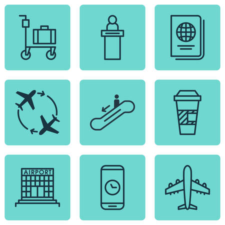 infra construction: Set Of 9 Airport Icons. Includes Call Duration, Takeaway Coffee, Airfield Manufacture And Other Symbols. Beautiful Design Elements. Illustration