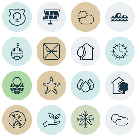 Set Of 16 Ecology Icons. Includes World Ecology, Cloud Cumulus, Ocean Wave And Other Symbols. Beautiful Design Elements.