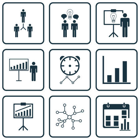 Set Of 9 Administration Icons. Includes Project Presentation, Conversation, Group Organization And Other Symbols. Beautiful Design Elements. Illustration