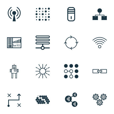 Set Of 16 Artificial Intelligence Icons. Includes Controlling Board, Variable Architecture, Related Information And Other Symbols. Beautiful Design Elements.