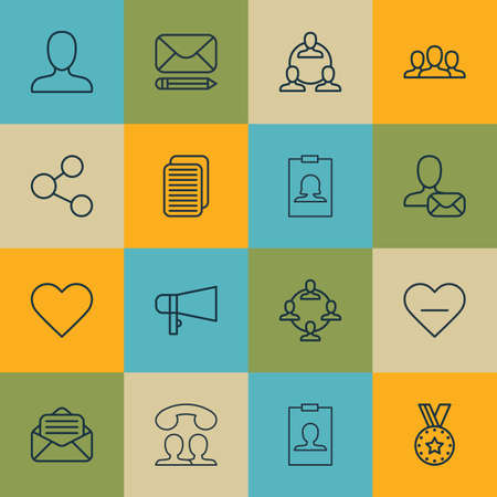 Set Of 16 Social Icons. Includes Online Letter, Identity Card, Web Profile And Other Symbols. Beautiful Design Elements. Illustration