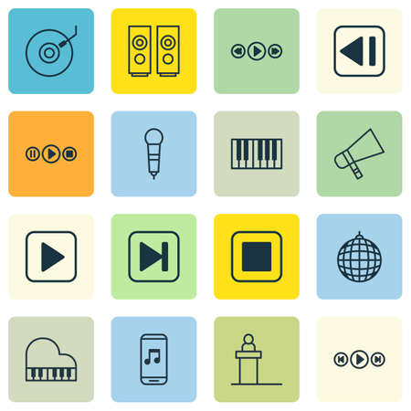 Set Of 16 Music Icons. Includes Rostrum, Sound Box, Piano And Other Symbols. Beautiful Design Elements.