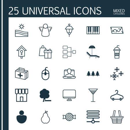 25 ユニバーサル編集可能なアイコンのセットです。Web、モバイル、アプリの設計に使用できます。削除森、情報基盤、社会プロファイルなどの要素