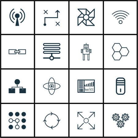 Set Of 16 Robotics Icons. Includes Related Information, Mainframe, Atomic Cpu And Other Symbols. Beautiful Design Elements. Illustration