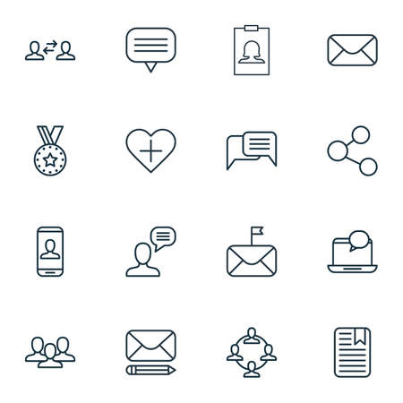 Set Of 16 Social Network Icons. Includes Add To Favorites, Edit Mail, Note Page And Other Symbols. Beautiful Design Elements.