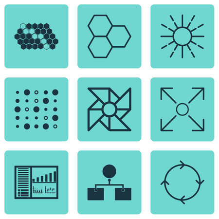 Set Of 9 Machine Learning Icons. Includes Controlling Board, Information Components, Branching Program And Other Symbols. Beautiful Design Elements.