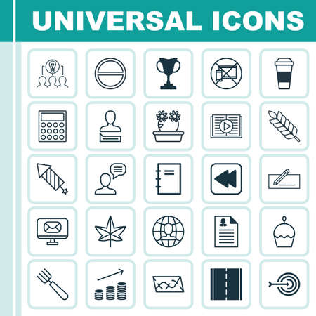 squib: Set Of 25 Universal Editable Icons. Can Be Used For Web, Mobile And App Design. Includes Elements Such As Tournament, Floweret, Taped Book And More. Illustration
