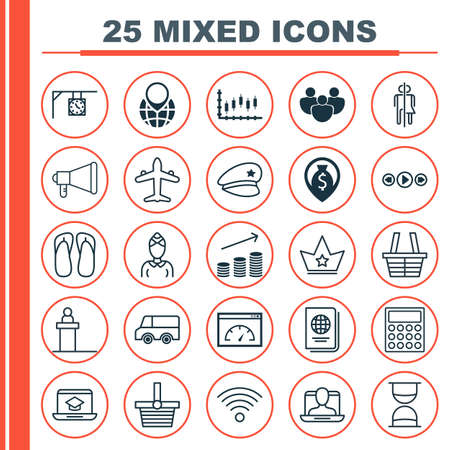 Set Of 25 Universal Editable Icons. Can Be Used For Web, Mobile And App Design. Includes Elements Such As Music Control, Corona, Pannier And More. Illustration