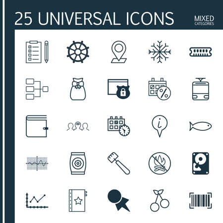 Set Of 25 Universal Editable Icons. Can Be Used For Web, Mobile And App Design. Includes Elements Such As Boat Helm, Crooked Graph, Warranty And More. Illustration