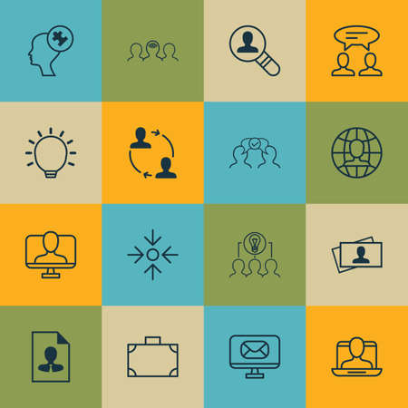 Set Of 16 Business Management Icons. Includes Collaborative Solution, Online Identity, Global Work And Other Symbols. Beautiful Design Elements. Ilustração