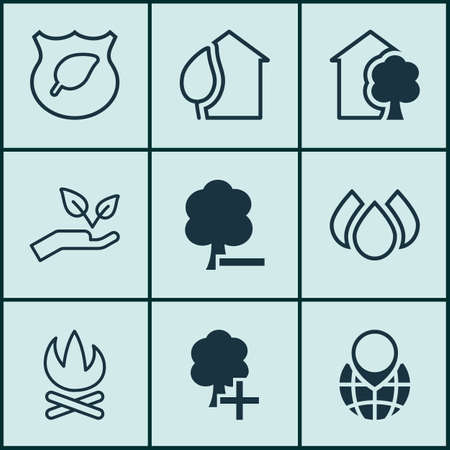 greenness: Set Of 9 Eco Icons. Includes Pin Earth, Bonfire, Aqua And Other Symbols. Beautiful Design Elements. Illustration