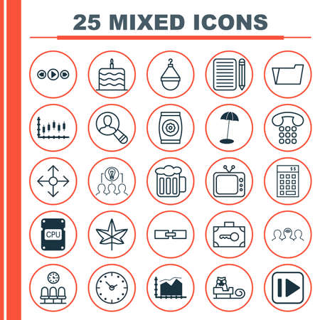 pager: Set Of 25 Universal Editable Icons. Can Be Used For Web, Mobile And App Design. Includes Elements Such As Cpu, Related Information, Time And More.