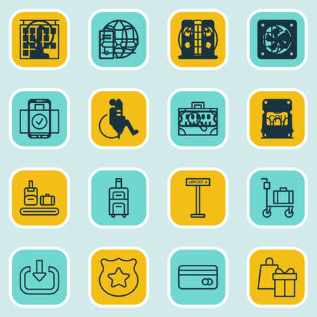 infirm: Set Of 16 Transportation Icons. Includes Armchair, Luggage Scanner, Cop Symbol And Other Symbols. Beautiful Design Elements. Illustration