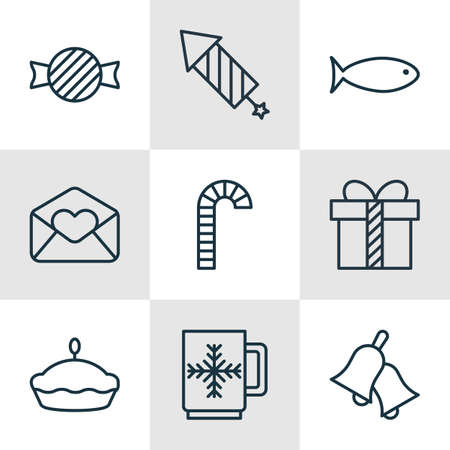 flan: Set Of 9 Celebration Icons. Includes Firework, Greeting Email, Flan And Other Symbols. Beautiful Design Elements.