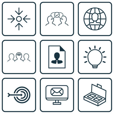 Set Of 9 Business Management Icons. Includes Cv, Great Glimpse, Cooperation And Other Symbols. Beautiful Design Elements.