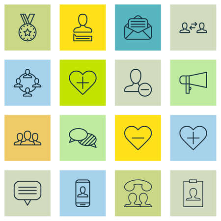 inform information: Set Of 16 Communication Icons. Includes Team Organisation, Read Message, Business Exchange And Other Symbols. Beautiful Design Elements.