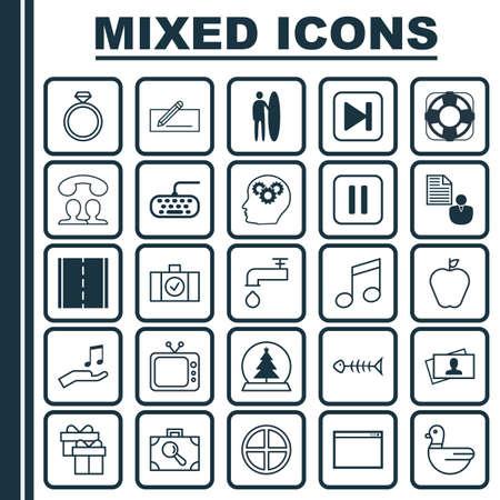 Set van 25 universele bewerkbare pictogrammen.