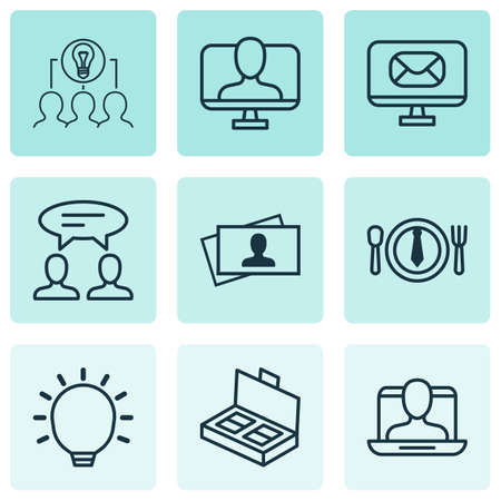Set Of 9 Business Management Icons. Includes Collaborative Solution, Dialogue, Great Glimpse And Other Symbols. Beautiful Design Elements.