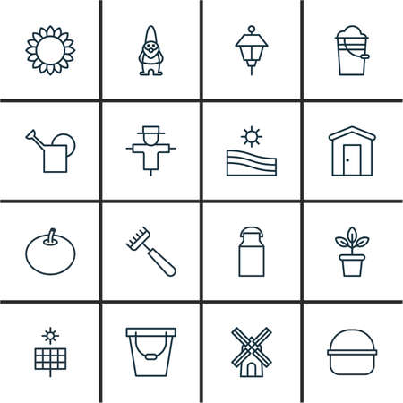 bugaboo: Set Of 16 Holticulture Icons. Includes Bailer, Meadow, Jug And Other Symbols. Beautiful Design Elements.