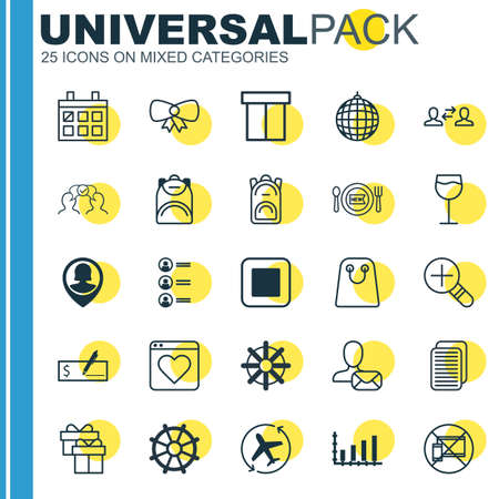 Set Of 25 Universal Editable Icons. Can Be Used For Web, Mobile And App Design. Includes Elements Such As Stop Button, Forbidden Mobile, Wineglass And More.